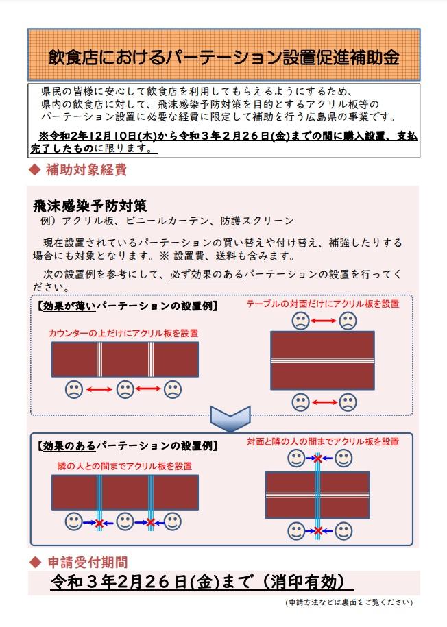 飲食店におけるパーテーション設置促進補助金!!〆切:2月26日まで!!のイメージ