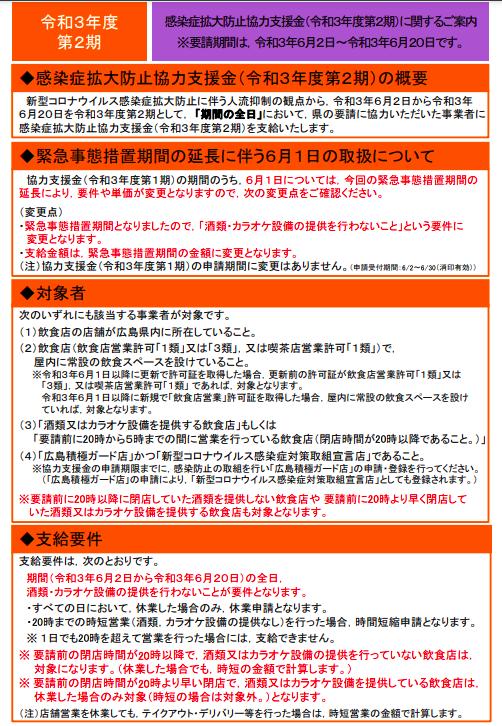 広島県感染症拡大防止協力支援金(第2期)!!6月21日申請スタート!!のイメージ