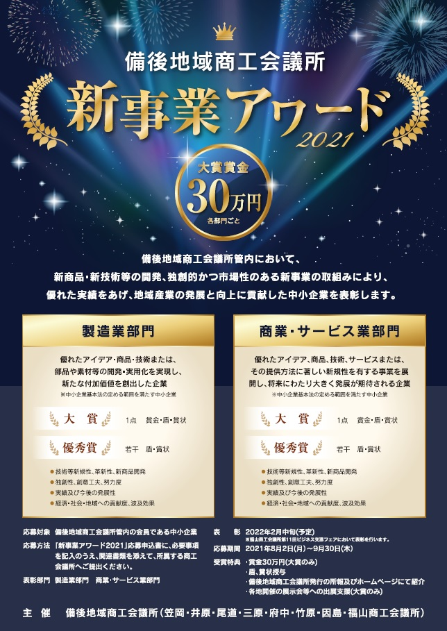 新事業アワード2021応募開始!!令和3年8月2日〜9月30日まで!!のイメージ