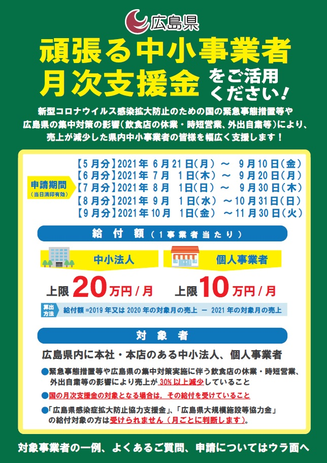 広島県月次支援金!!令和3年10月1日から9月分申請スタート!!のイメージ